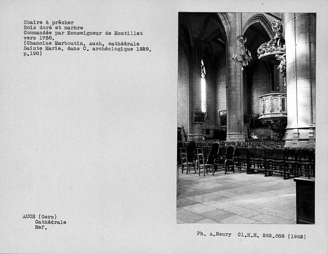 Chaire à prêcher en bois doré et marbre de la nef