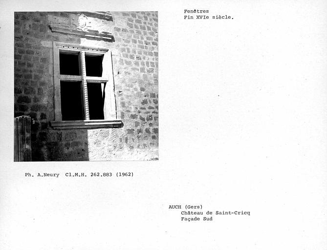 Fenêtre au rez-de-chaussée, partie est de la façade sud