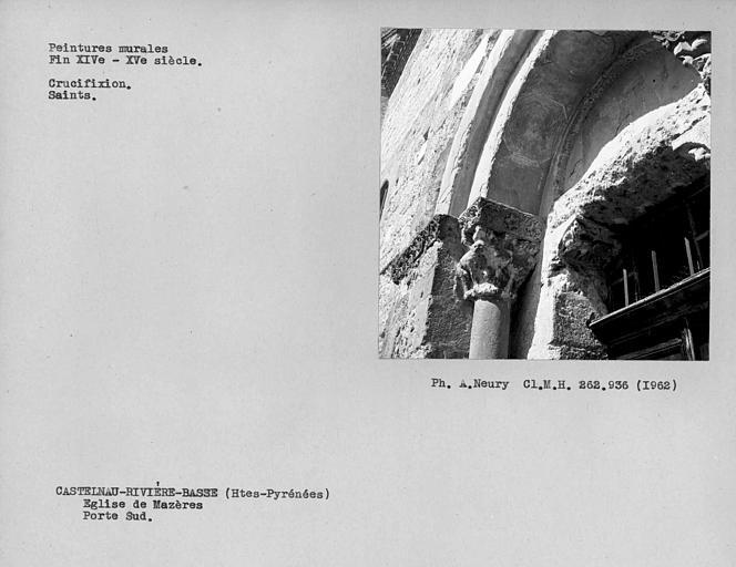 Côté ouest de la partie haute de la porte de la façade ouest de la nef