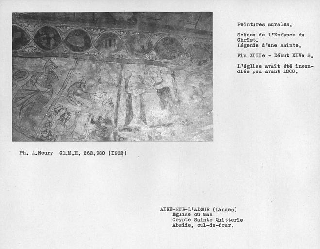 Peintures murales du sommet du cul-de-four est de la crypte de Sainte-Quiterie, Enfance du Christ et Légende d'une Sainte