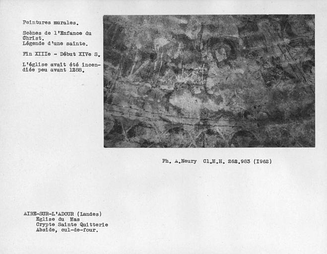 Restes de scènes de la vie d'une Sainte sur le côté sud-est du cul-de-four de la crypte Sainte-Quiterie