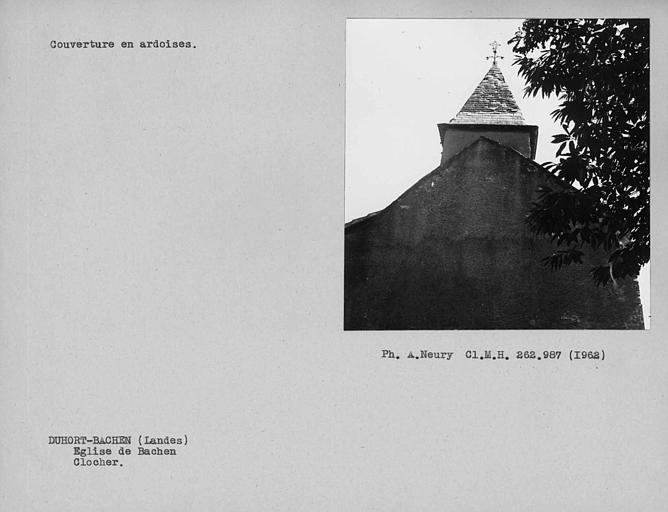 Couverture d'ardoises du clocher