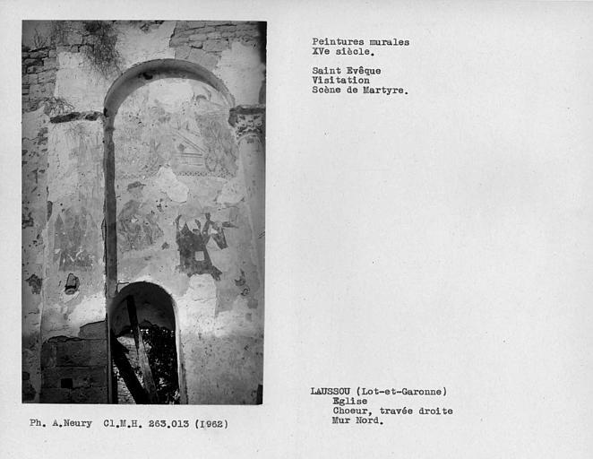 Peintures murales de la première arcature et du pilastre de gauche de la travée droite du choeur, Saint-Evêque, Annonciation? et scène de martyre