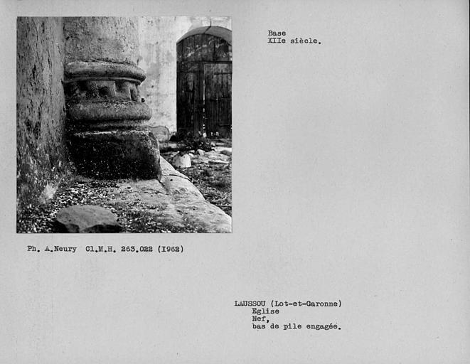Base de colonne du côté sud de la nef