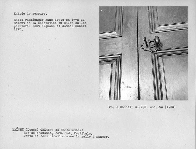 Entrée de serrure de la porte donnant sur le vestibule de la salle à manger, côté vestibule