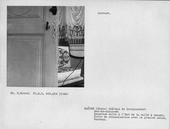 Serrure et vantaux de la porte du deuxième salon à l'est de la salle à manger, côté opposé à la cheminée