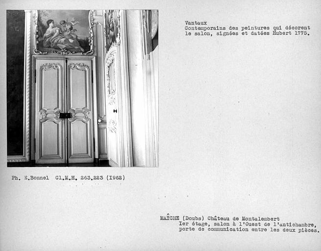 Salon à l'ouest de l'antichambre du premier étage, vantaux de la porte de communication entre les deux pièces