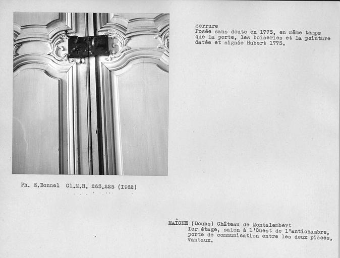 Salon à l'ouest de l'antichambre du premier étage, serrure de la porte de communication entre les deux pièces