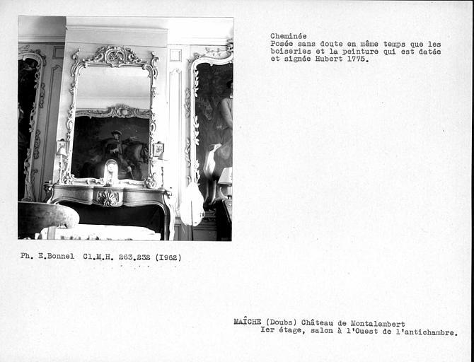 Cheminée du salon à l'ouest de l'antichambre, premier étage