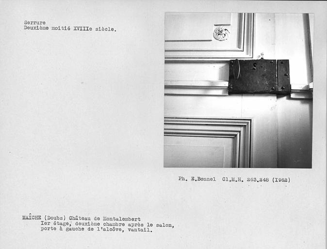 Serrure du vantail de la porte à gauche de l'alcôve de la deuxième chambre après le salon du premier étage