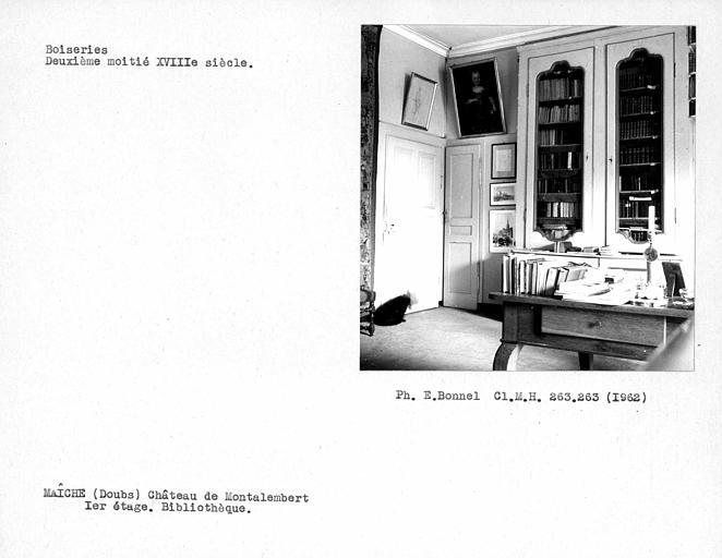 Boiseries de la bibliothèque du premier étage