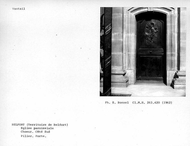 Vantail de porte du pilier gauche du transept de la nef