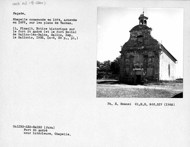 Façade ouest de la chapelle, cour intérieure du fort
