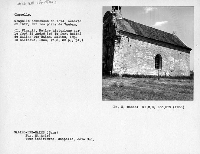 Façade sud de la chapelle, cour intérieure du fort
