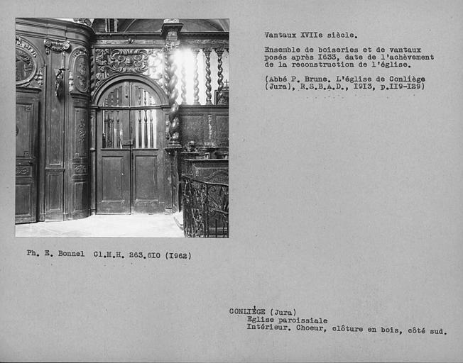 Clôture en bois du choeur, vantaux de la porte du côté sud