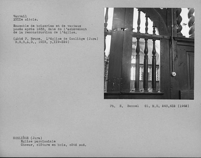 Clôture en bois du choeur, penture des vantaux de la porte du côté sud