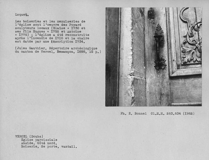 Boiserie de l'abside, poignée et loquet de la deuxième porte vers la sacristie du côté sud