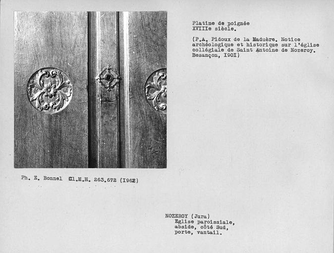 Platine de poignée de porte au sud du choeur