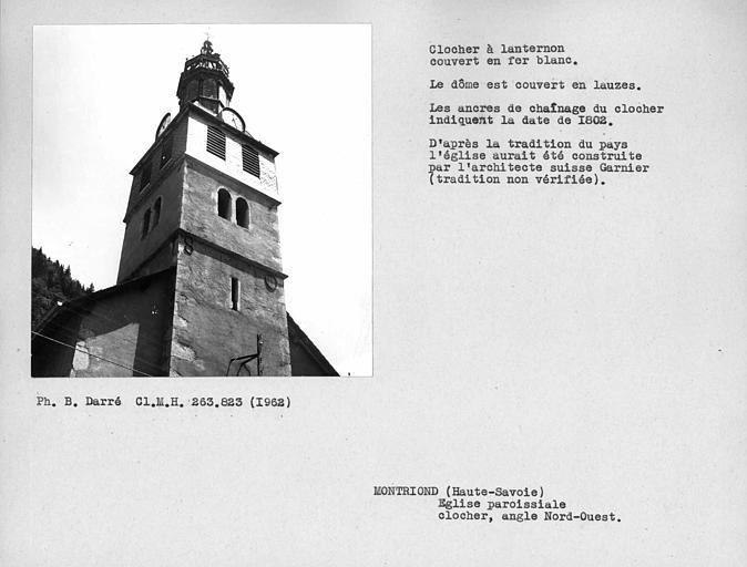 Clocher à lanternon couvert en fer-blanc. Angle nord-ouest du clocher, ancres de chaînage indiquant la date du lanternon