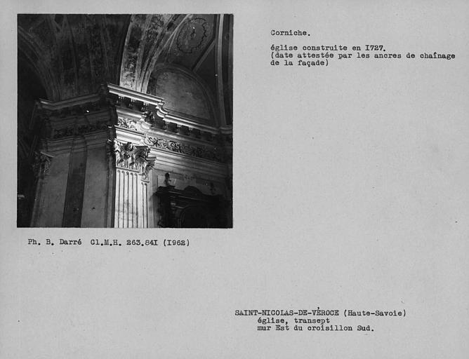 Chapiteau est et corniche du bras sud du transept