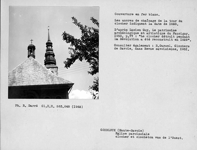 Couverture en fer-blan du clocher et du clocheton