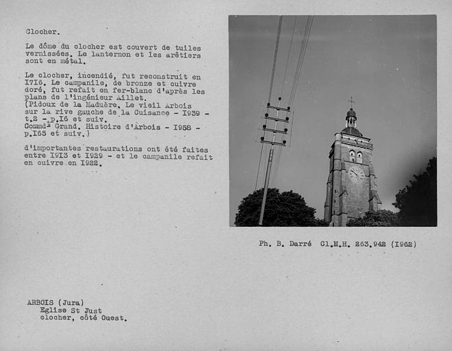 Clocher à lanternon revêtu de métal, restauré entre 1913 et 1929