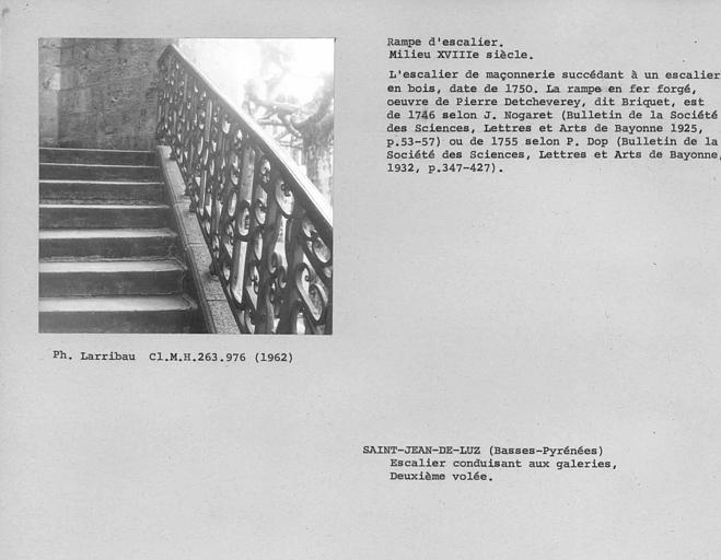 Rampe en fer forgé de la deuxième volée de l'escalier