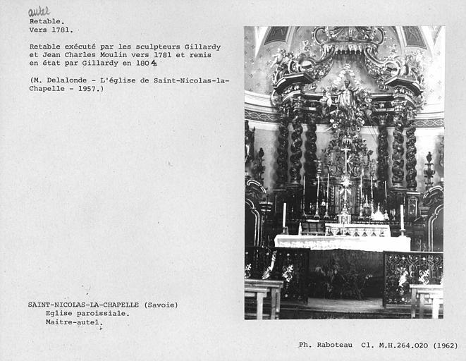 Retable du maître-autel remis en état par Gillardy en 1804