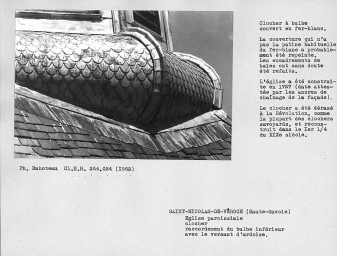 Couverture en fer blanc du clocher, détail du bulbe inférieur