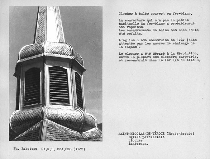 Couverture en fer blanc du lanternon du clocher