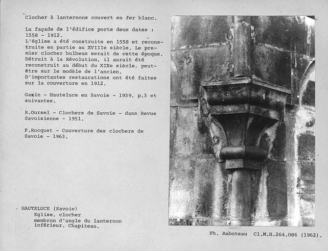 Clocher à lanternons couvert en fer-blanc, restauré en 1912. Détail du membron d'angle de la base du deuxième bulbe, lanternon inférieur, chapiteau