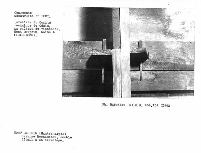 Charpente du comble, détail d'un clavetage