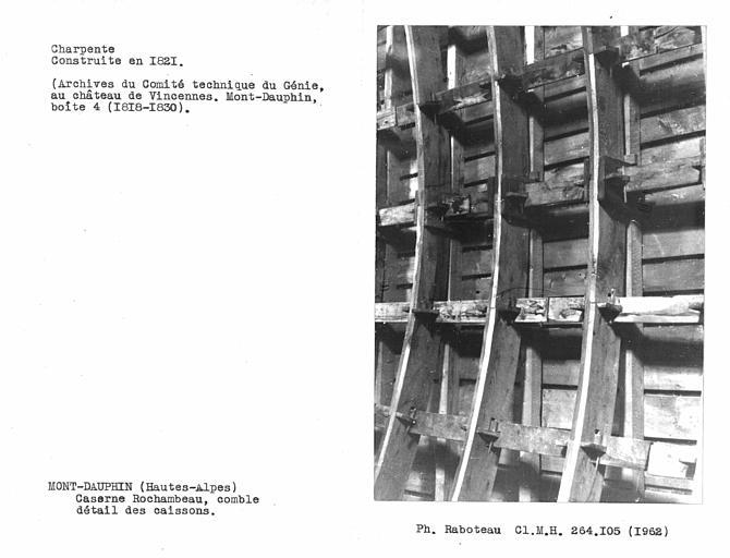 Charpente du comble, détail des caissons