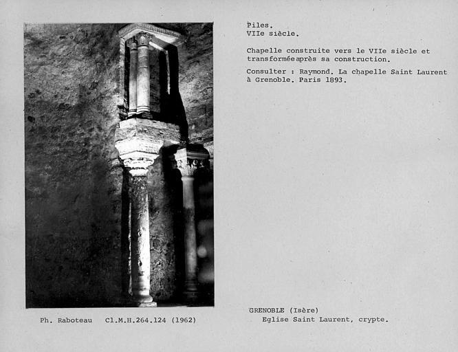 Détail des piles de l'angle nord-ouest de la crypte