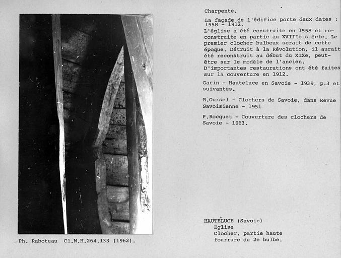 Charpente en fer blanc du clocher, fourrure du deuxième bulbe, base du lanternon inférieur