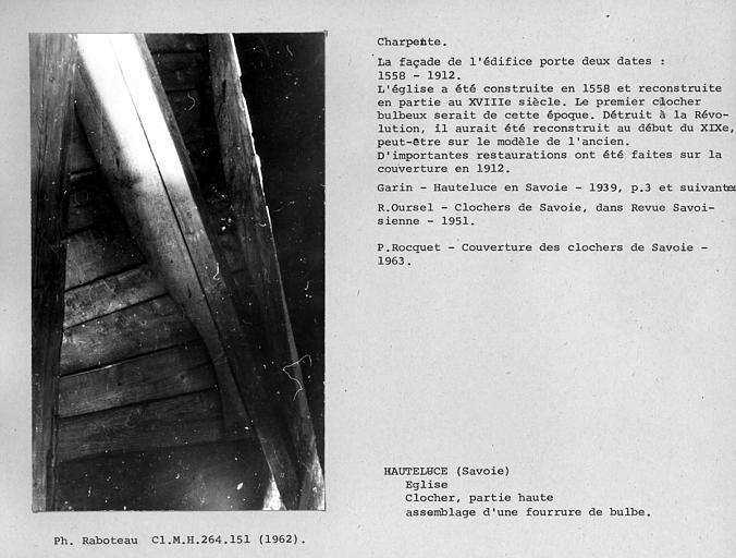 Charpente du clocher, détail d'assemblage de la fourrure du bulbe