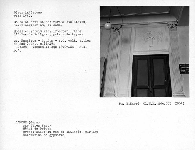 Gypserie de la grande salle du rez-de-chaussée, dessus de porte du mur est