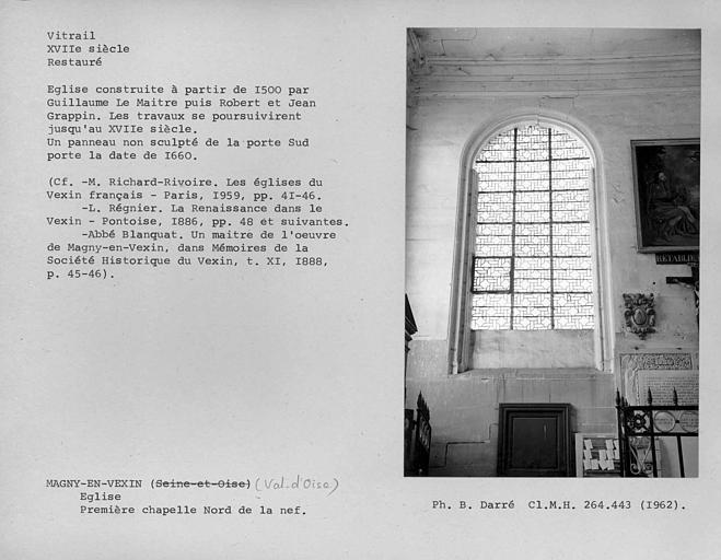 Vitrail restauré de la première fenêtre de la première chapelle nord de la nef