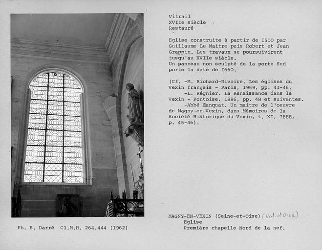 Vitrail restauré de la deuxième fenêtre de la première chapelle nord de la nef