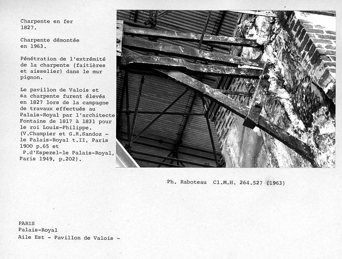 Aile est du Palais Royal, charpente en fer du Pavillon de Valois, démontée en 1963. Pénétration de l'extrémité de la charpente, faîtières et aisselier, dans le mur pignon