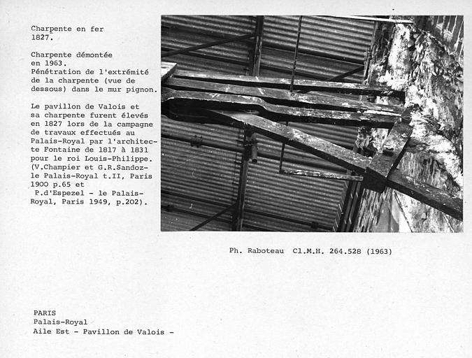 Aile est du Palais Royal, charpente en fer du Pavillon de Valois, démontée en 1963. Pénétration de l'extrémité de la charpente vue de dessous, dans le mur pignon