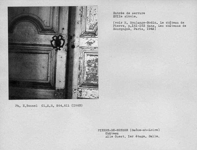 Entrée de serrure de porte de la grande salle du premier étage de l'aile ouest