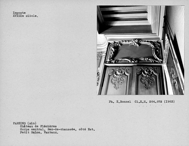 Imposte des vantaux de porte du petit salon à boiseries au rez-de-chaussée du corps central