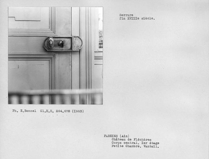 Serrure du vantail de porte de la petite chambre du premier étage du corps central
