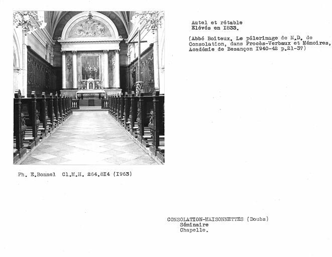 Maître-autel et retable de la chapelle
