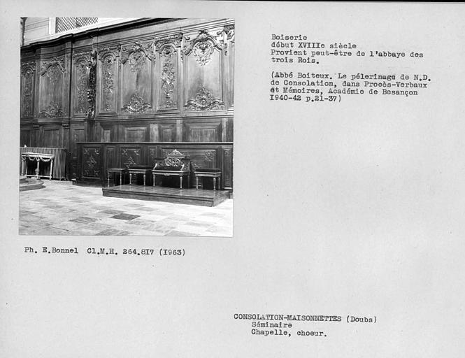 Stalles du choeur de la nef de la chapelle