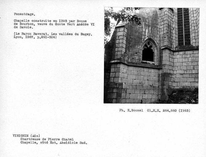 Fenestrage du chevet de la chapelle, côté est, absidiole sud