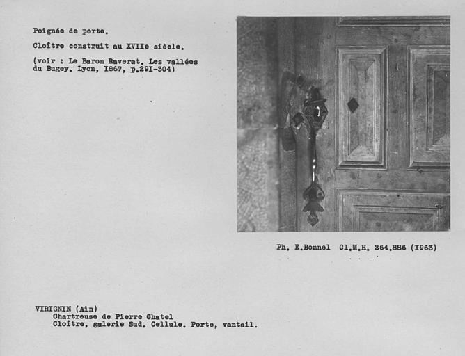 Serrurerie du vantail de porte de la galerie sud du grand cloître