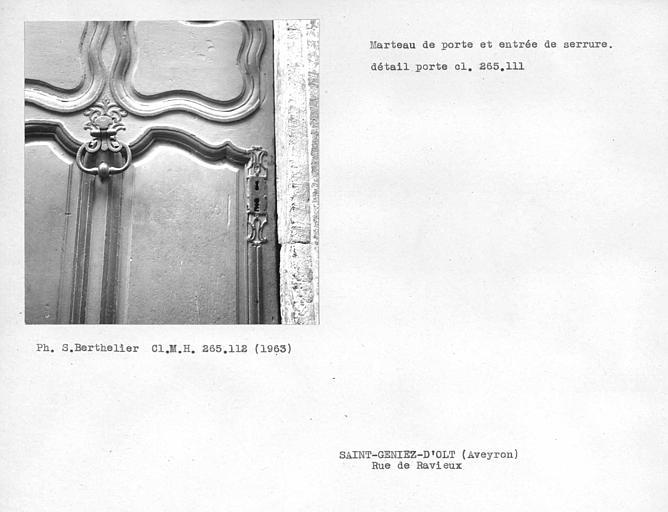 Marteau de la porte (voir cl. monuments historiques 265111)