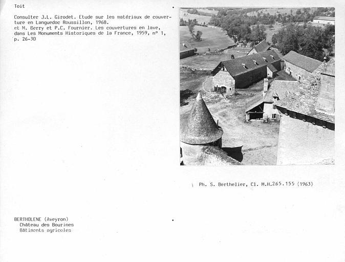 Couverture en lauze des toitures, vue d'ensemble